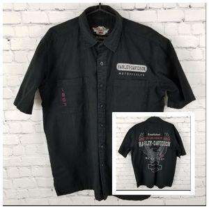 HARLEY DAVIDSON   collared button down shirt